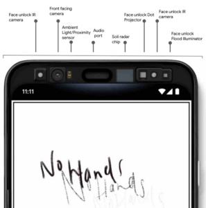 Sensores do Google Pixel 4