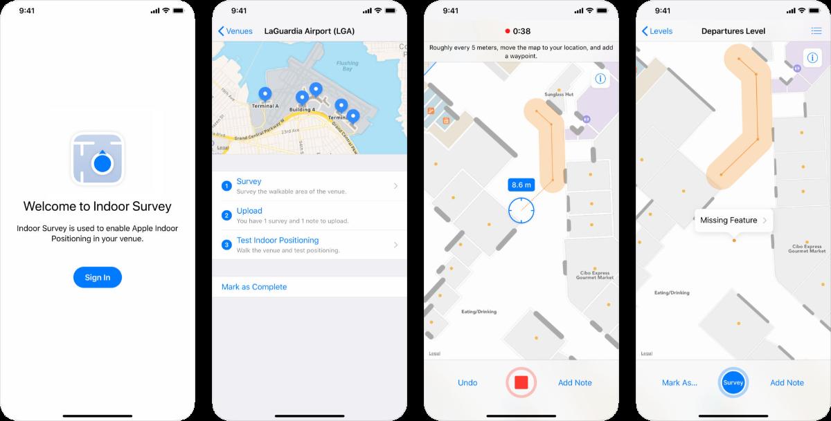 Atualização do aplicativo de mapeamento interno Apple Indoor Survey