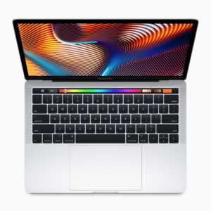 Novo MacBook Pro de 13 polegadas visto de cima com a sua Touch Bar