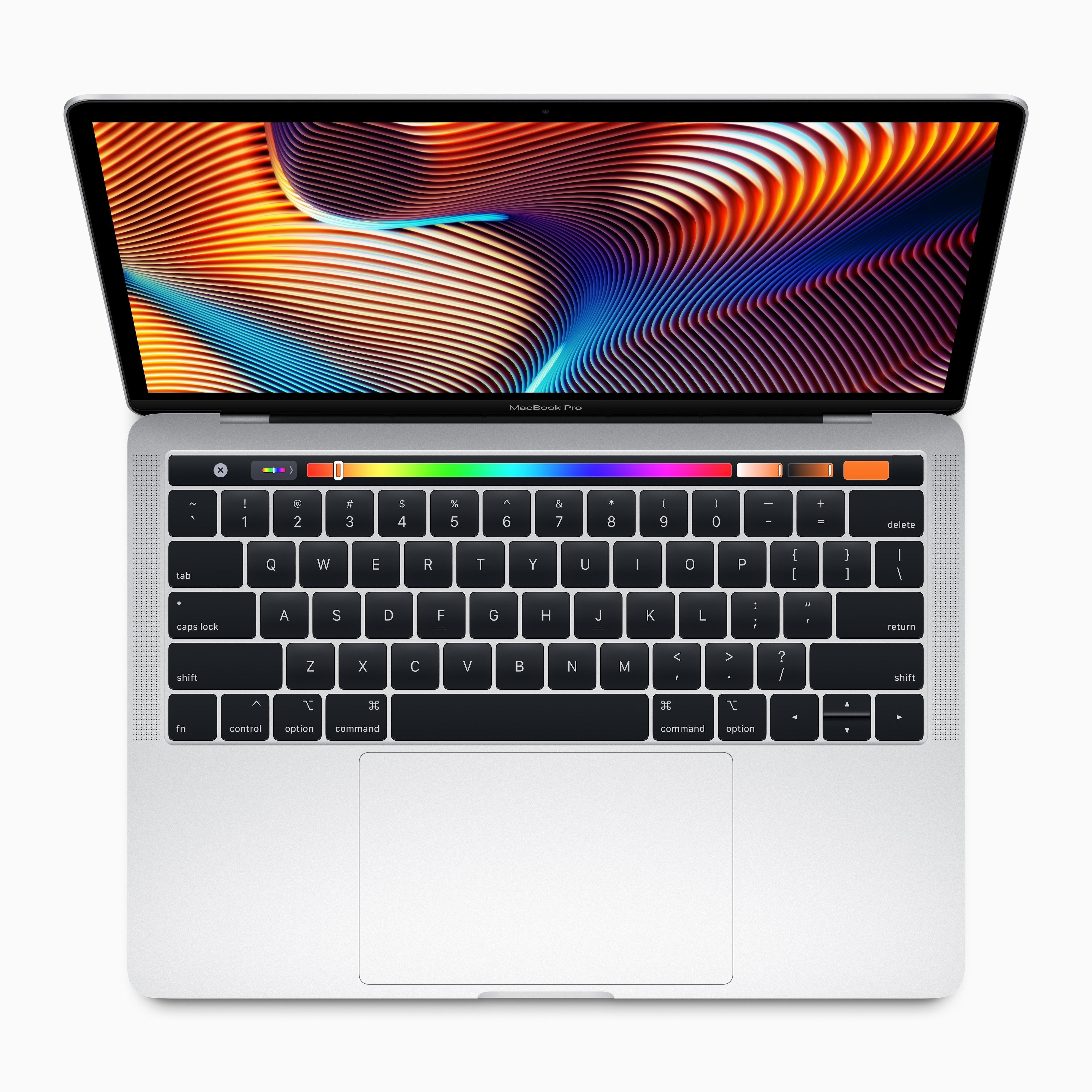 Novo MacBook Pro de 13 polegadas visto de cima com a sua Touch Bar
