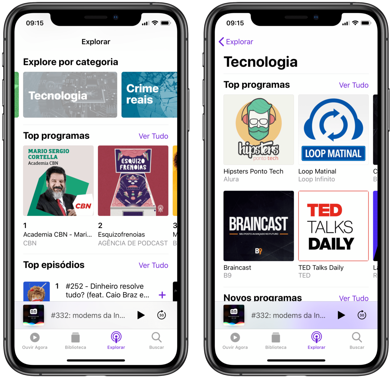 Seções do Apple Podcasts no iPhone