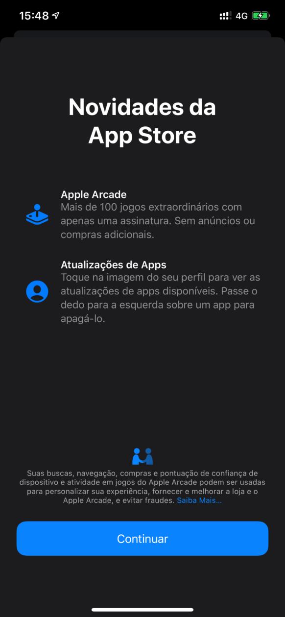 Tela de novidades da App Store no iOS 13 beta 6