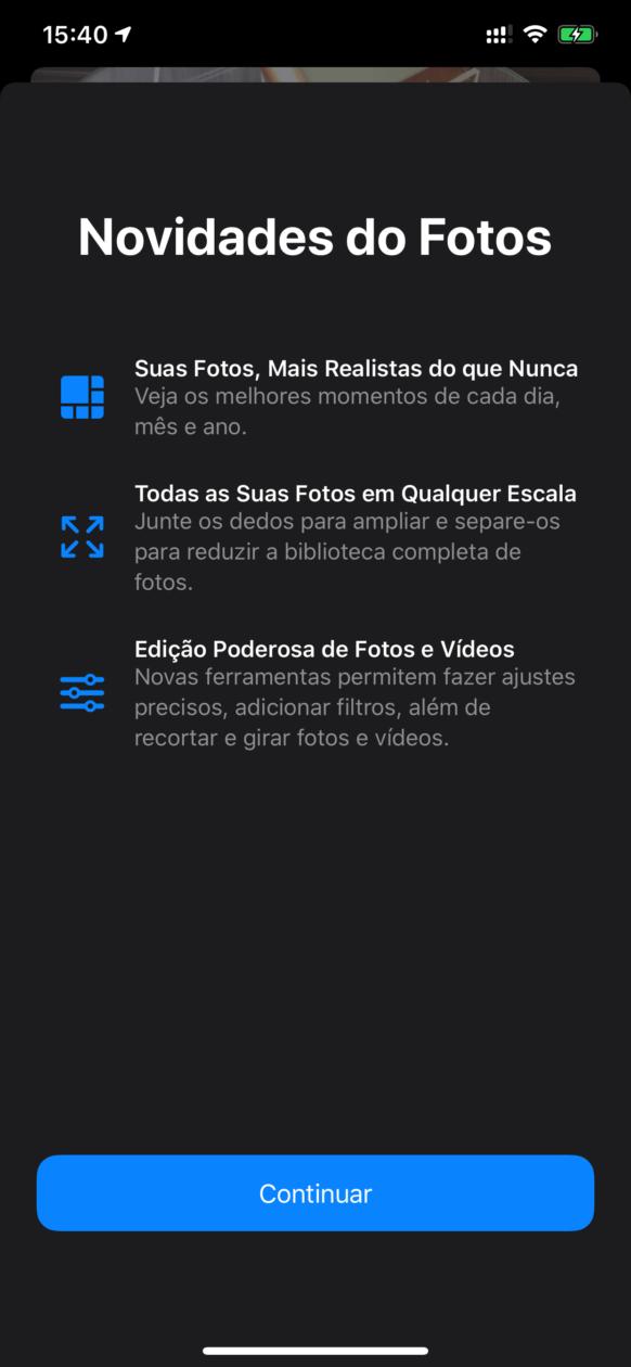 Tela de novidades do Fotos no iOS 13 beta 6
