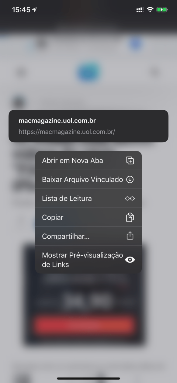 Preview de links no iOS 13 beta 6