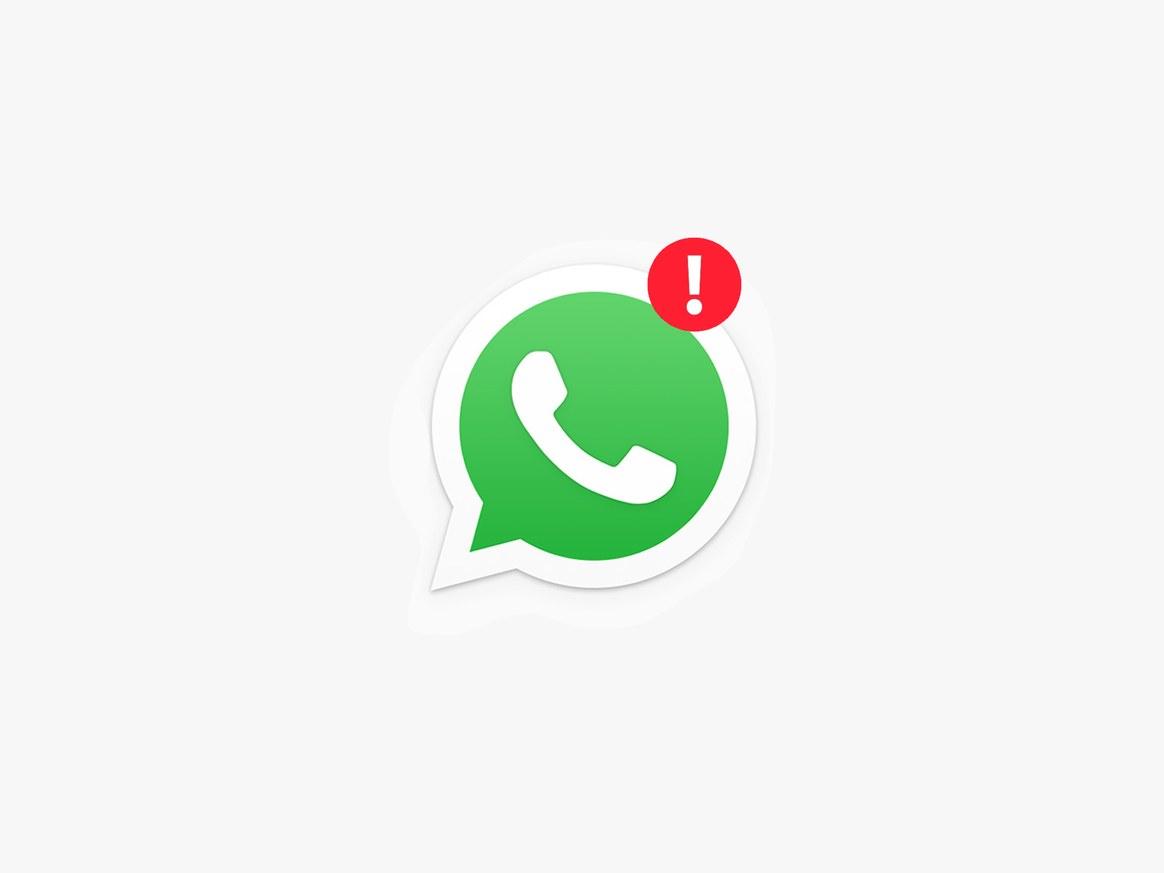 Logo do WhatsApp com uma exclamação