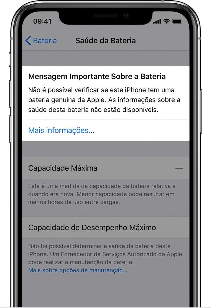 Aviso sobre bateria no iOS