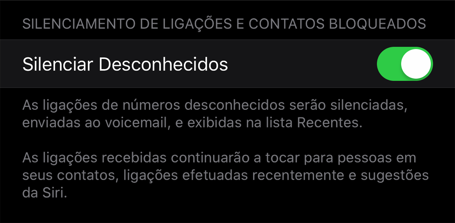 Novo texto para silenciar desconhecidos no iOS 13 beta 7