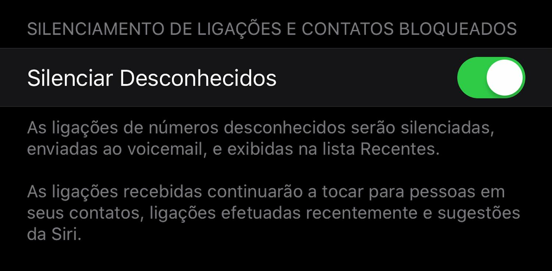 Novo texto para silenciar desconhecidos no iOS 13 beta 7