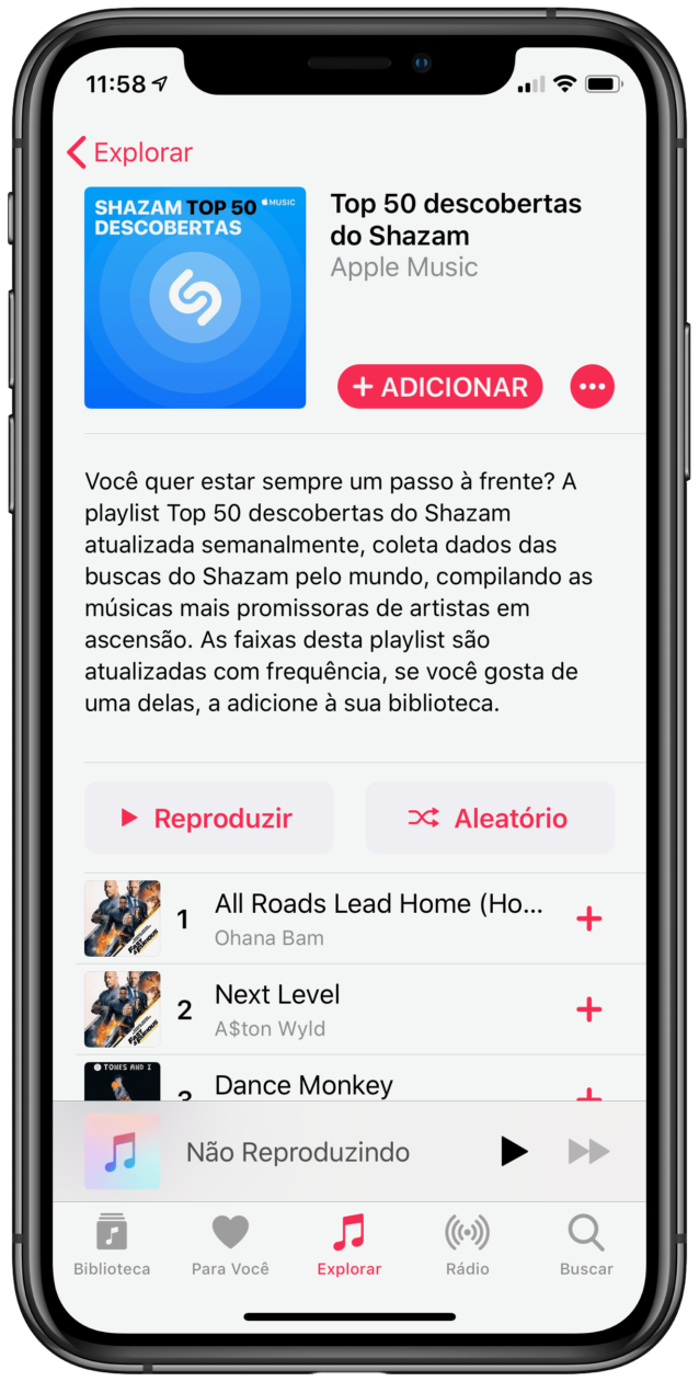 Nova playlist do Shazam no Apple Music