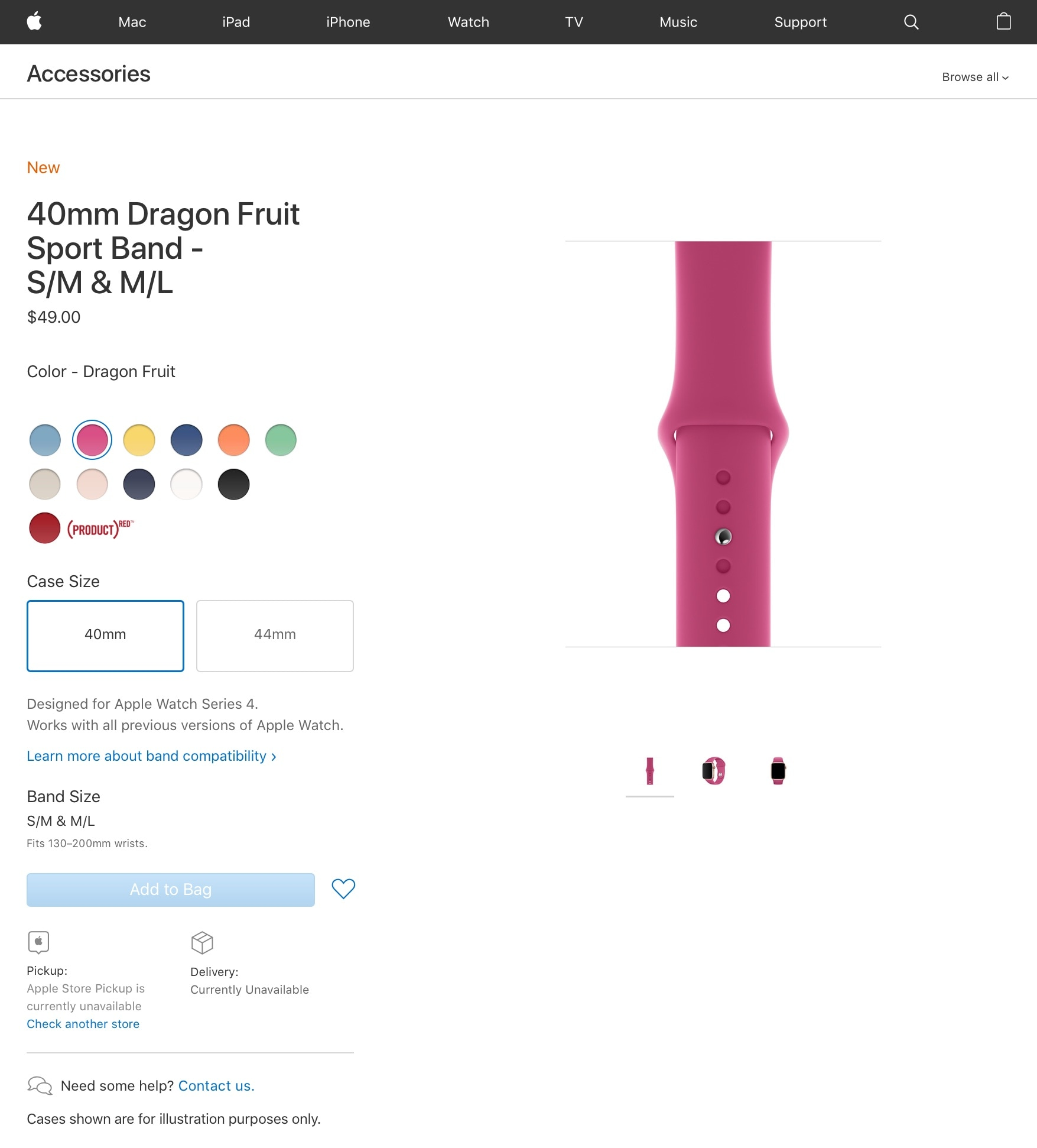 Estoque de pulseira na Apple Online Store americana