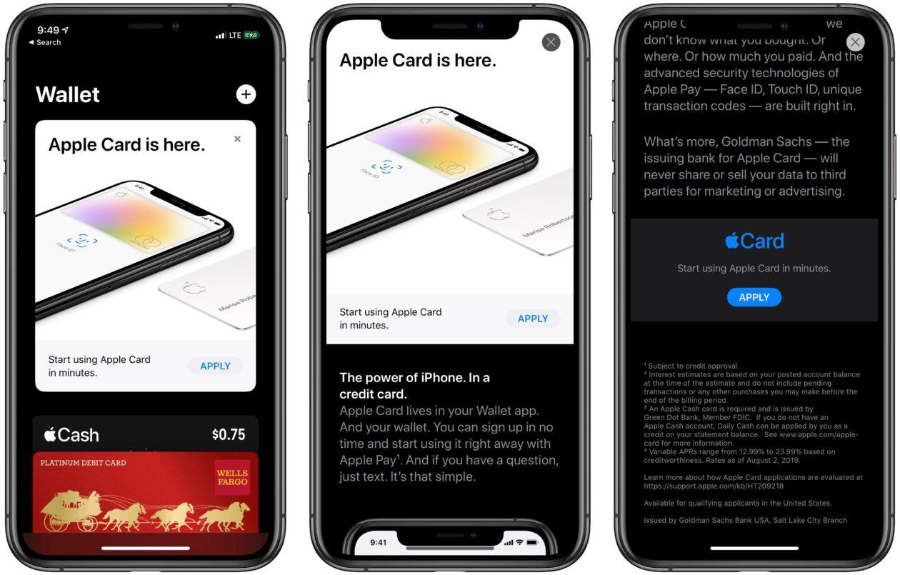 Divulgação do Apple Card no app Wallet e na App Store