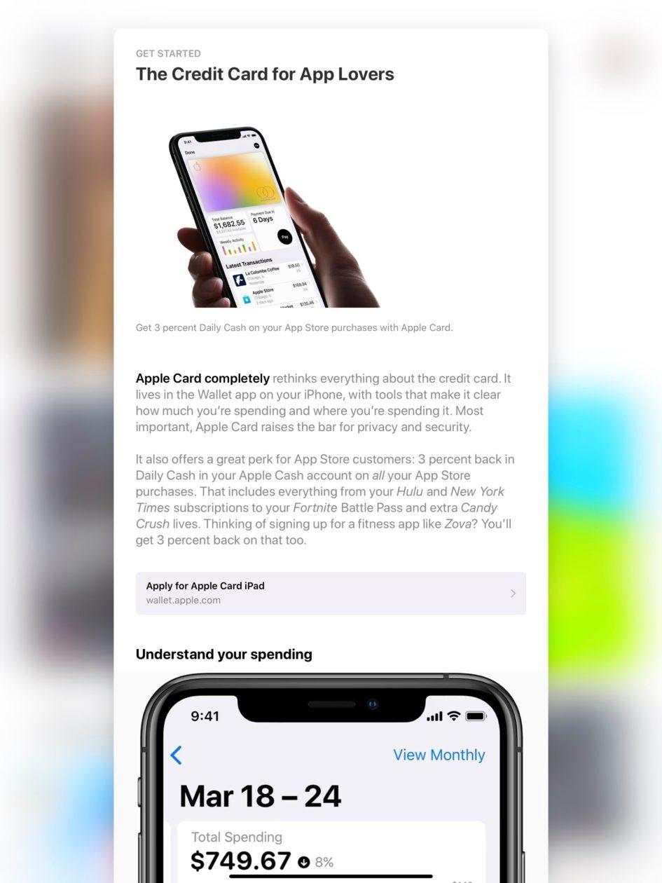 Apple Card na App Store para iPad