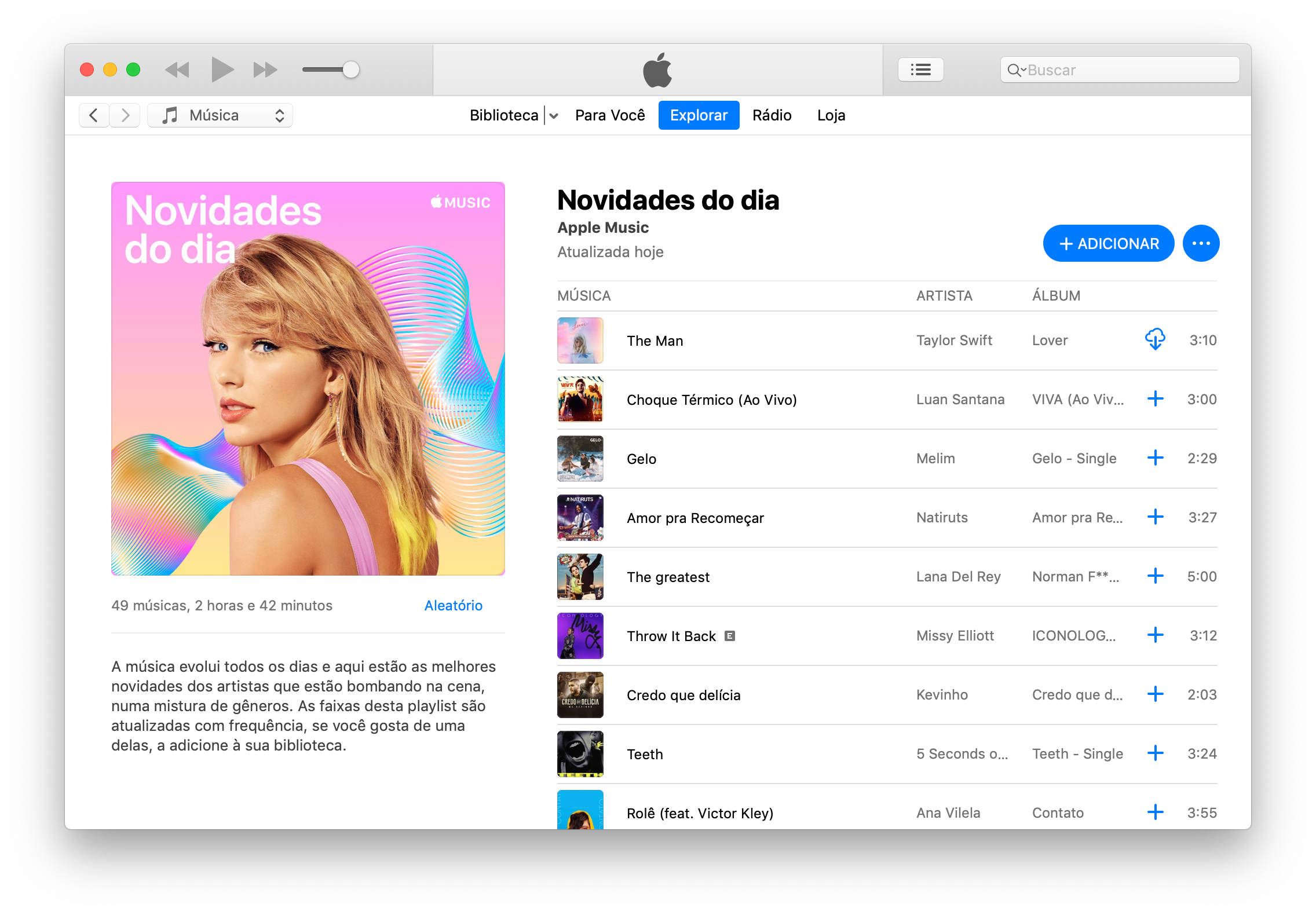 "Playlist ""Novidades do dia"" do Apple Music"