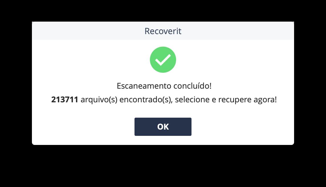 Alerta de escaneamento do Recoverit
