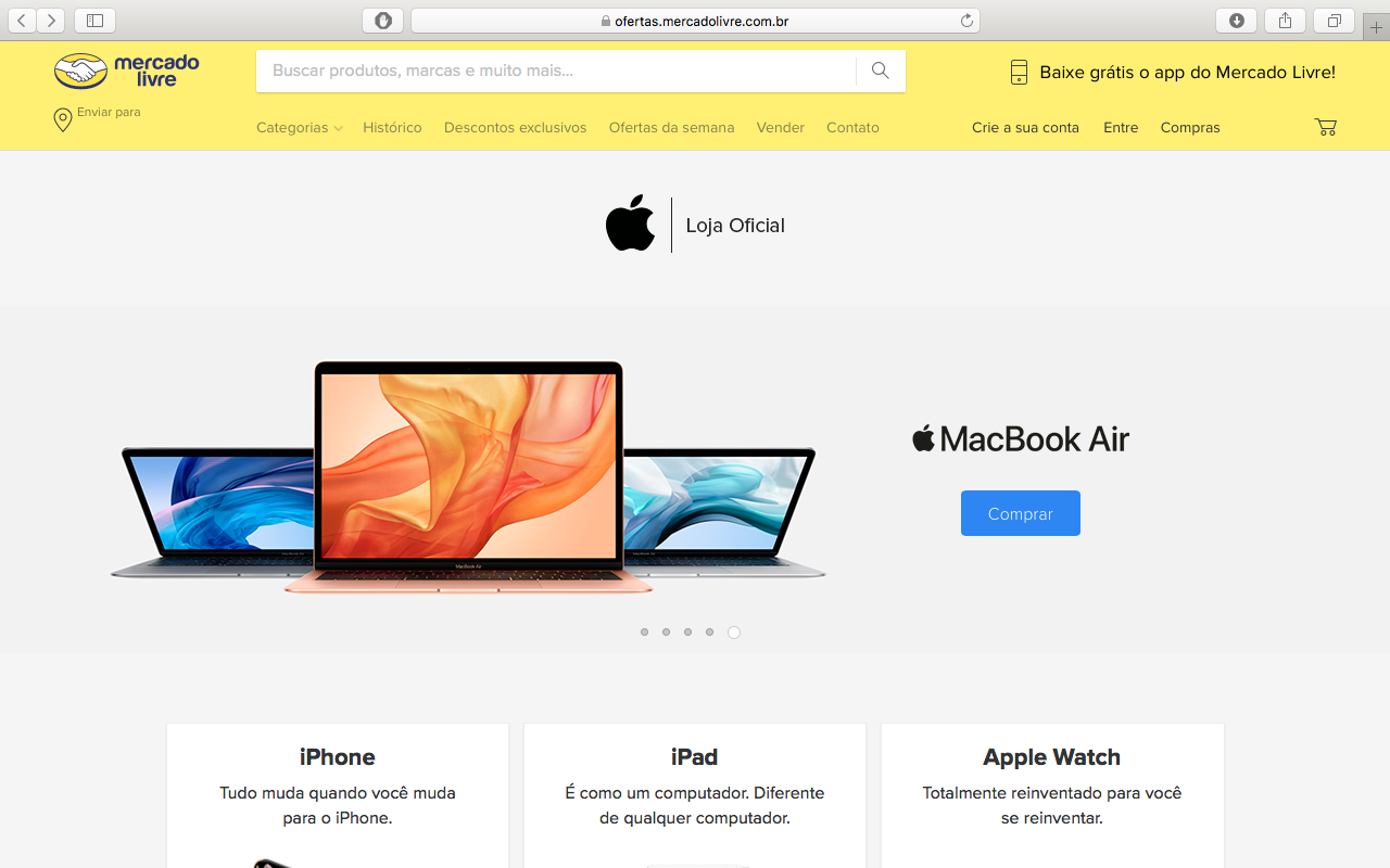 Loja da Apple no Mercado Livre