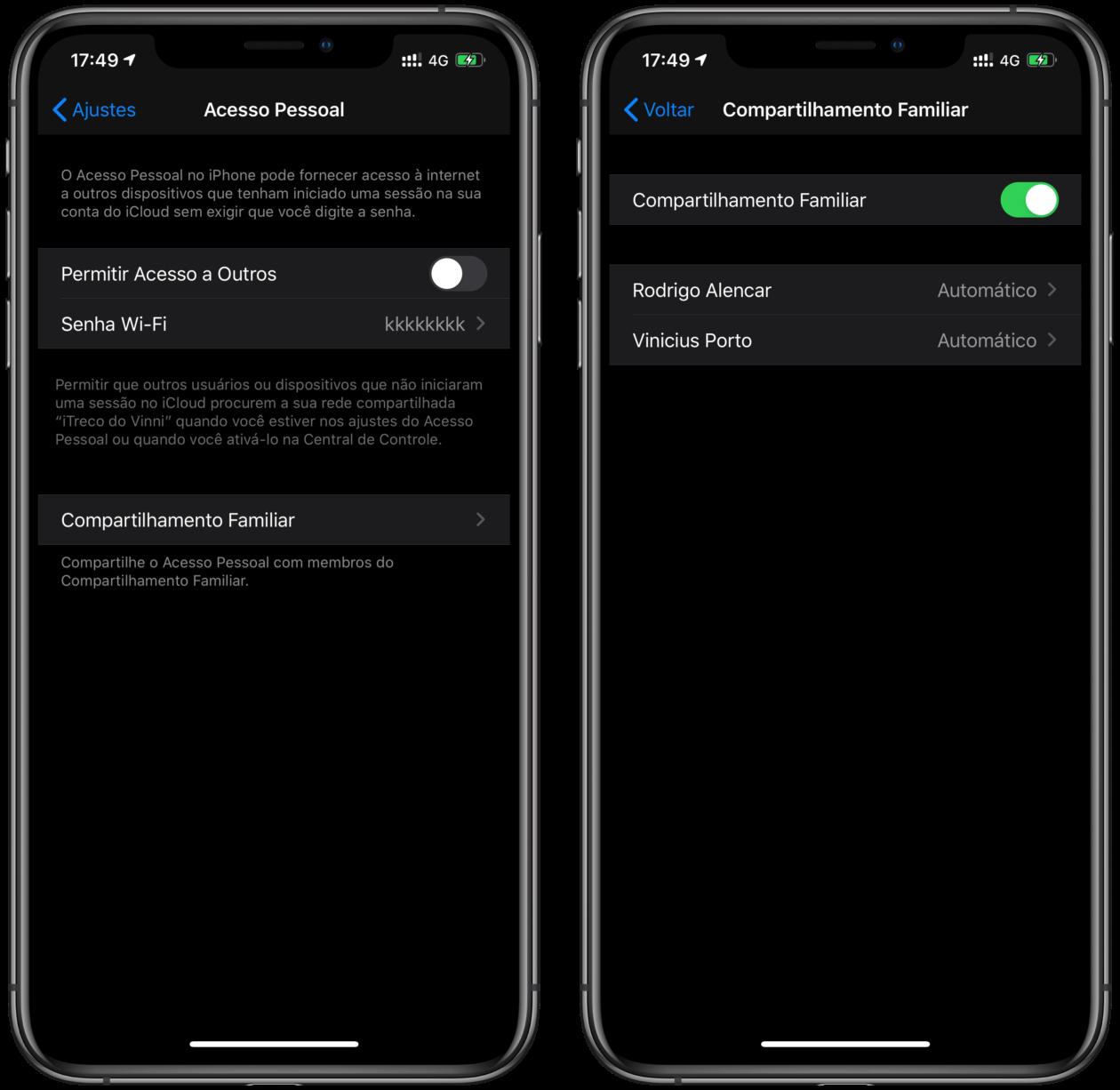 Acesso Pessoal no iOS 13.1