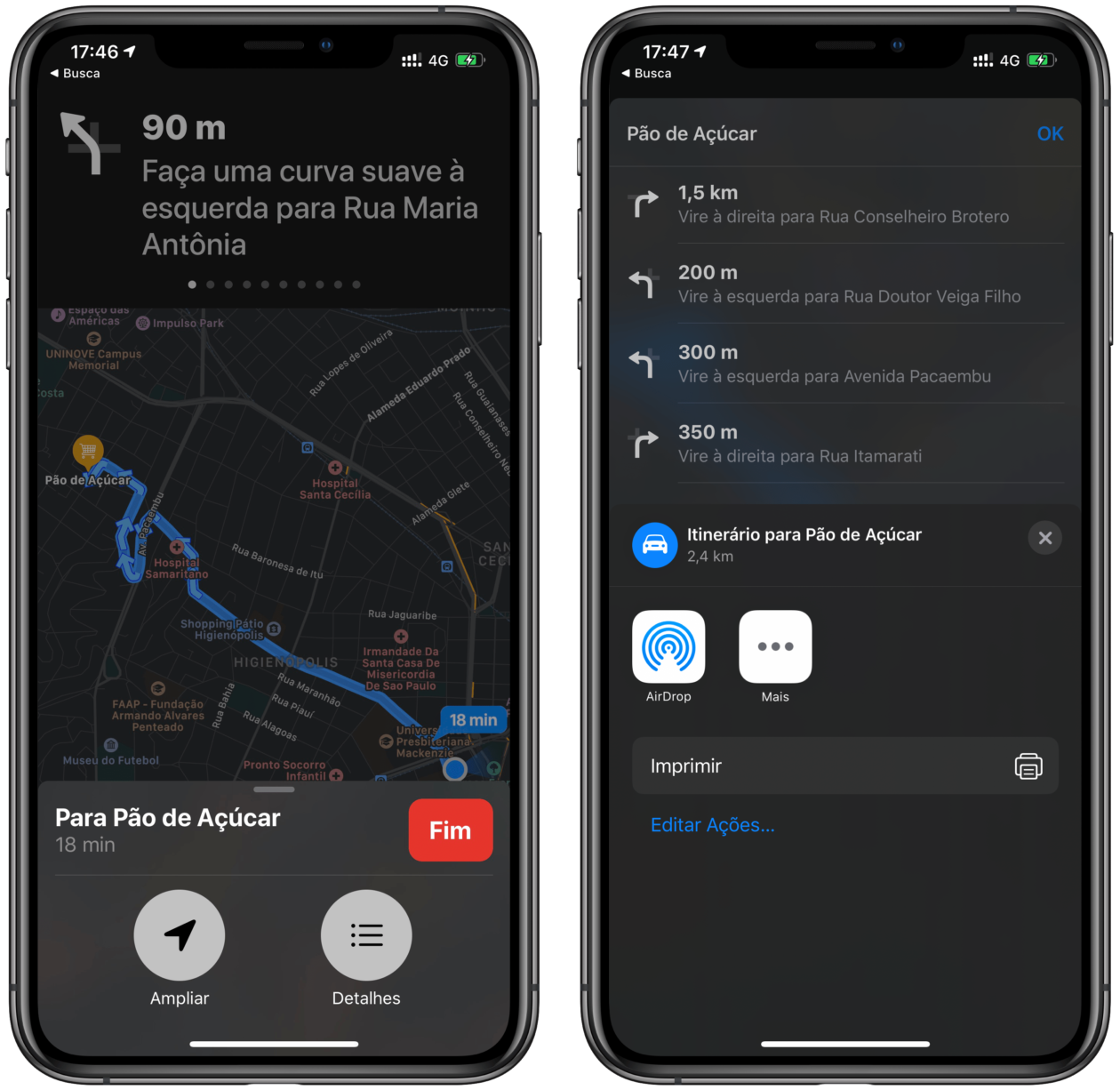 Mapas no iOS 13.1