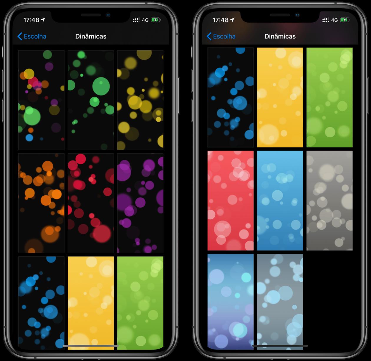 Papéis de parede dinâmico no iOS 13.1