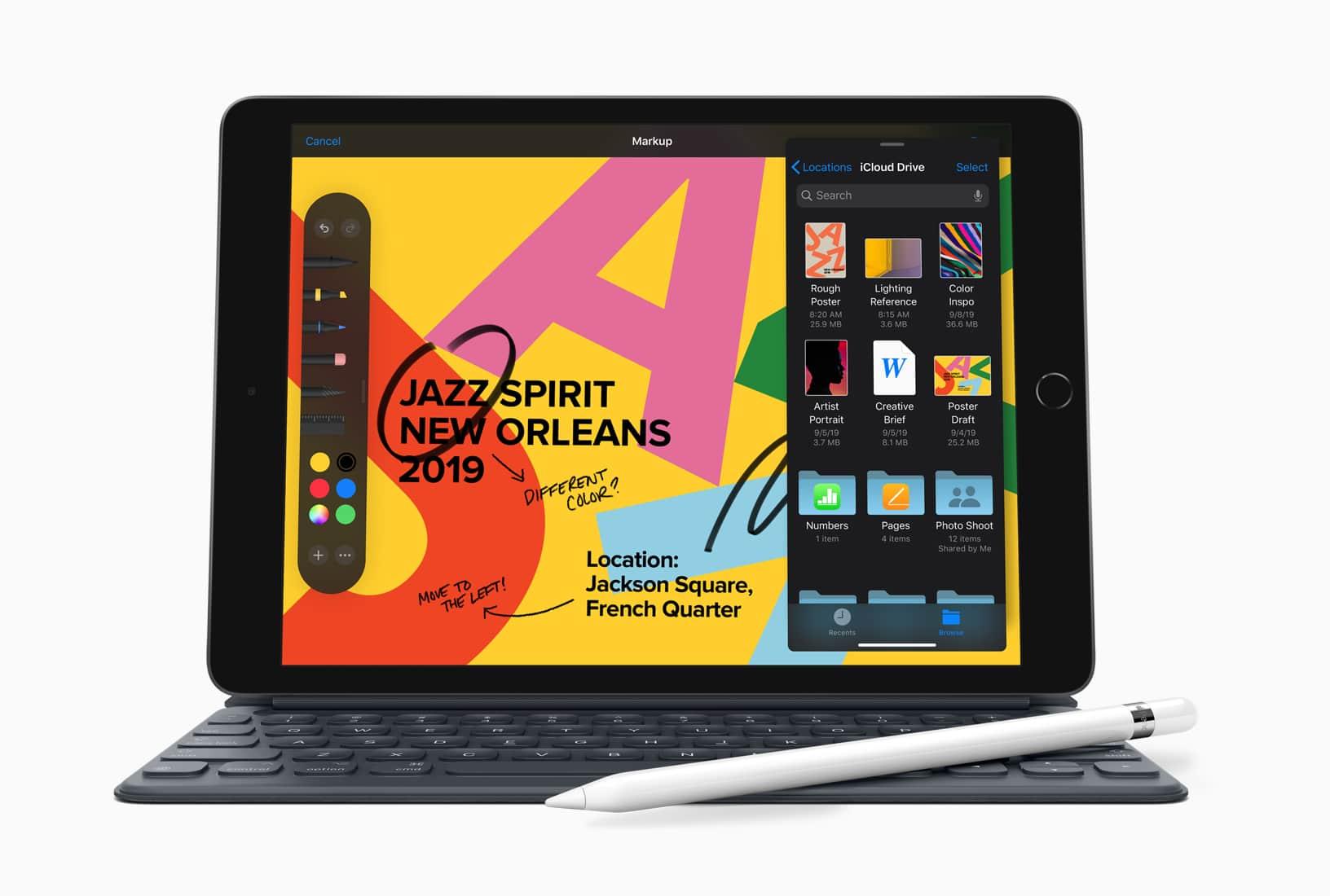 Novo iPad com Smart Keyboard e Apple Pencil