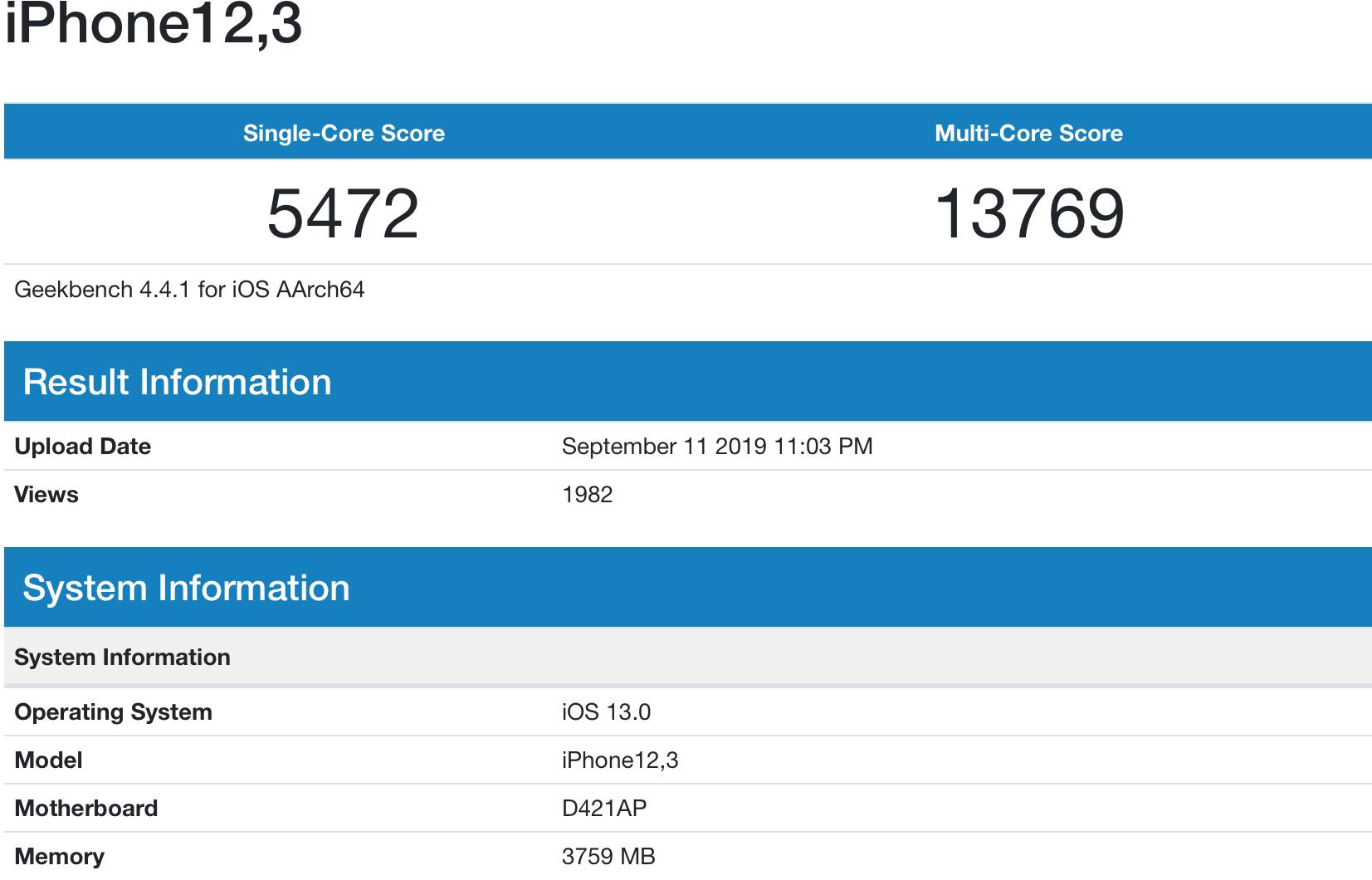 Teste benchmark do iPhone 11