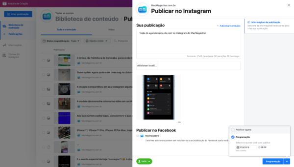 Agendamento de post no Instagram