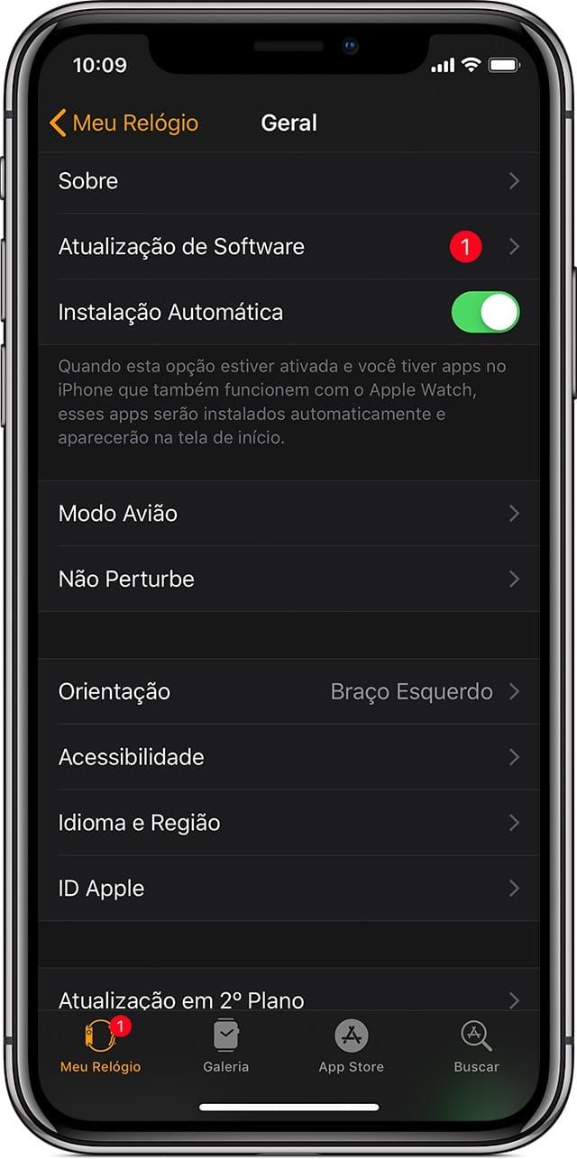 Atualização de software - Apple Watch