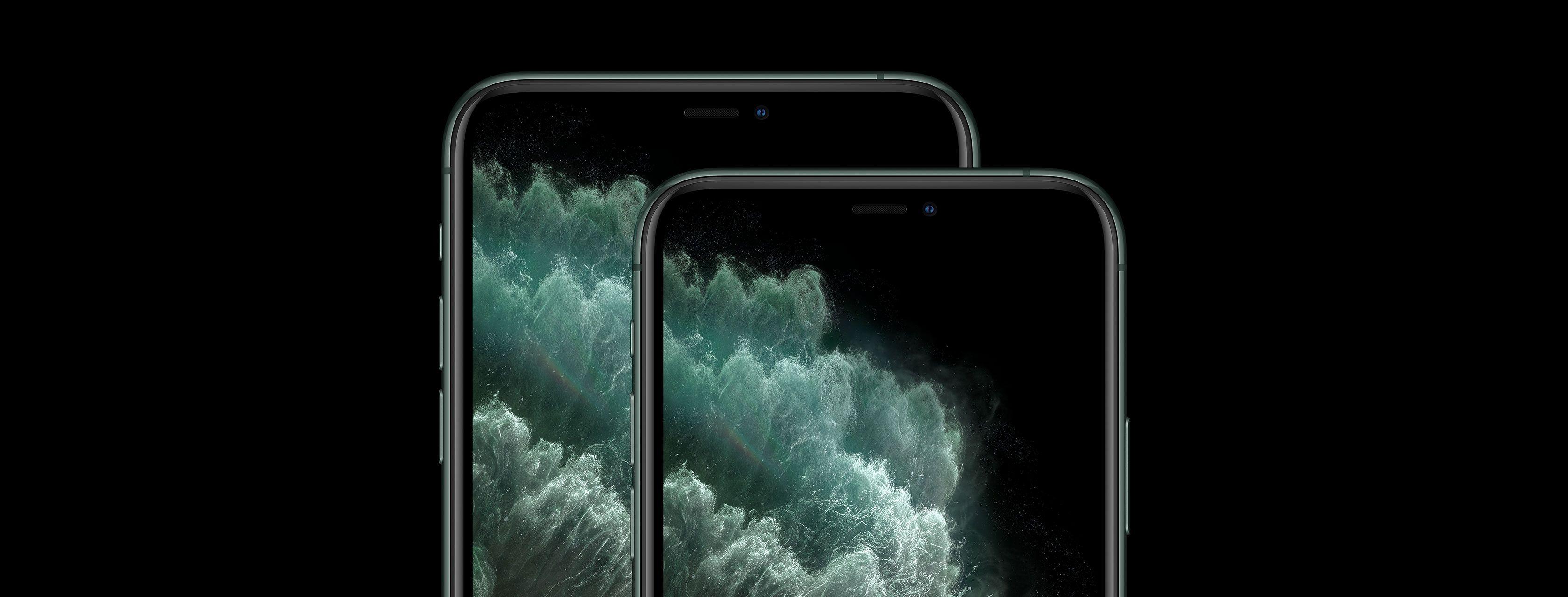 iPhone 11 Pro Max e iPhone 11 Pro sobrepostos sobre fundo preto
