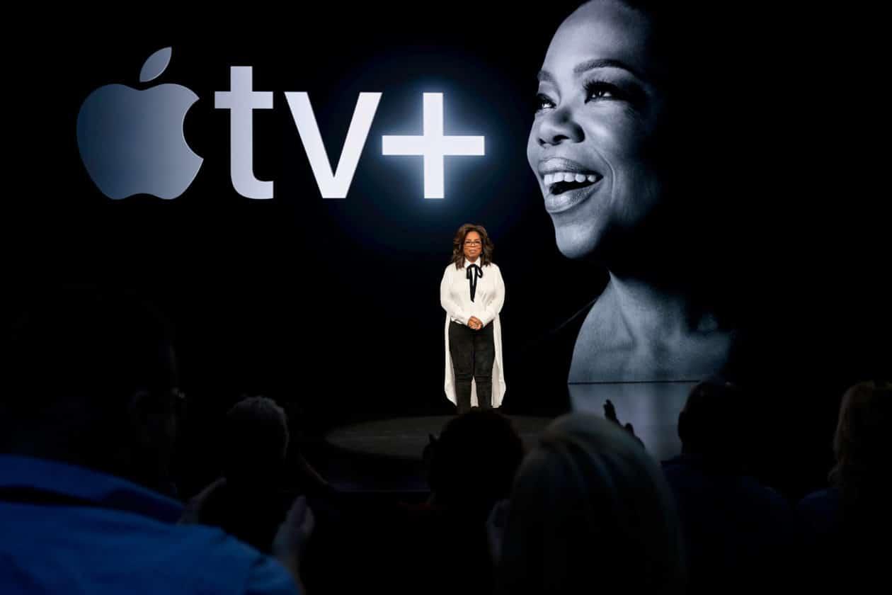 Oprah durante apresentação do Apple TV+