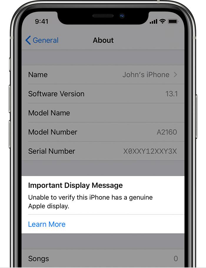 Aviso sobre tela não-original no iPhone 11