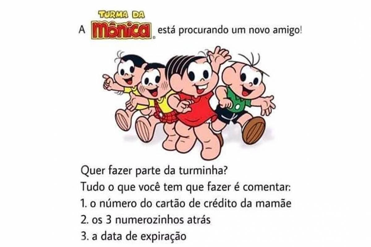 Golpe no WhatsApp com a Turma da Mônica