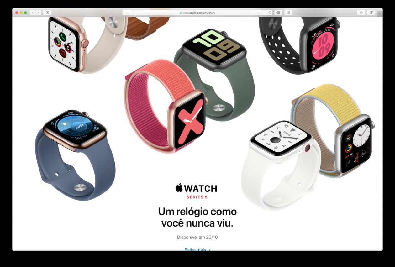 Apple Watch Series 5 no Brasil em 25 de outubro