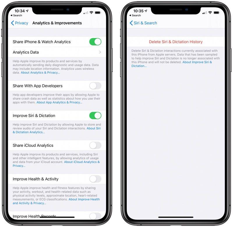 Apagando gravações da Siri no iOS 13.2 beta 2