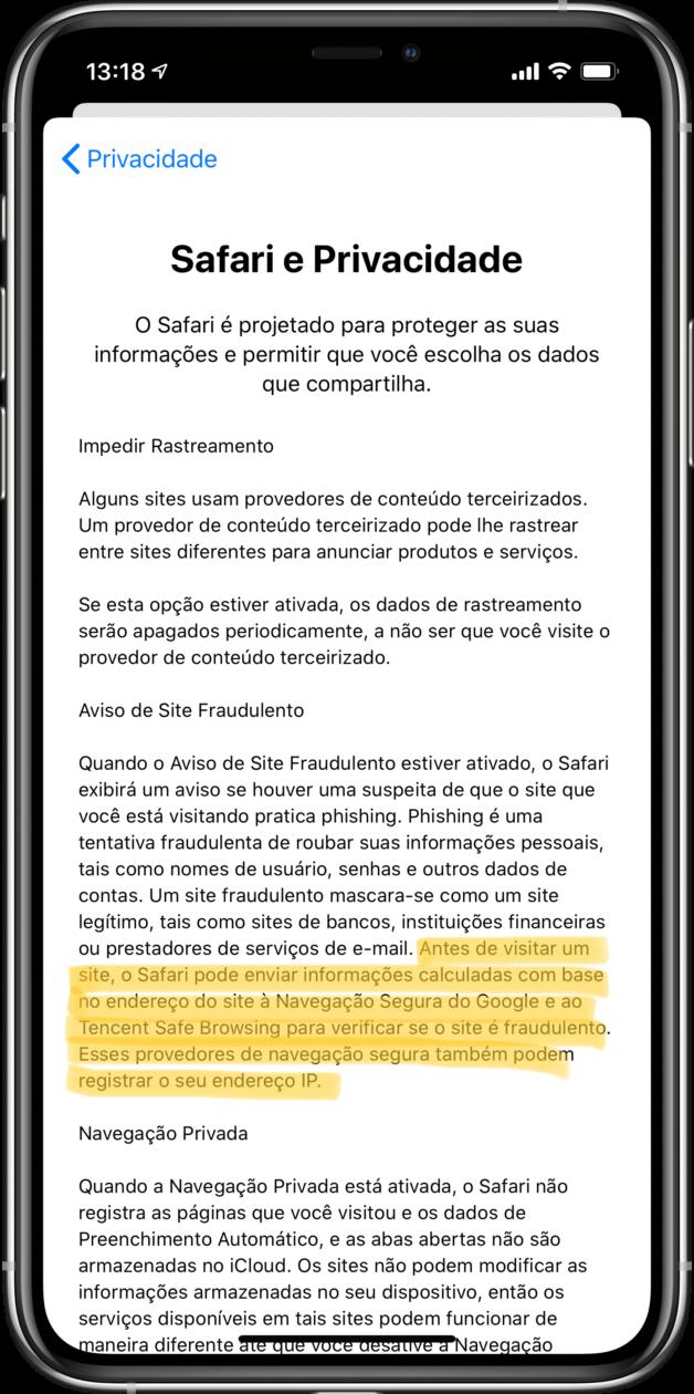 Aviso de envio de dados do Safari