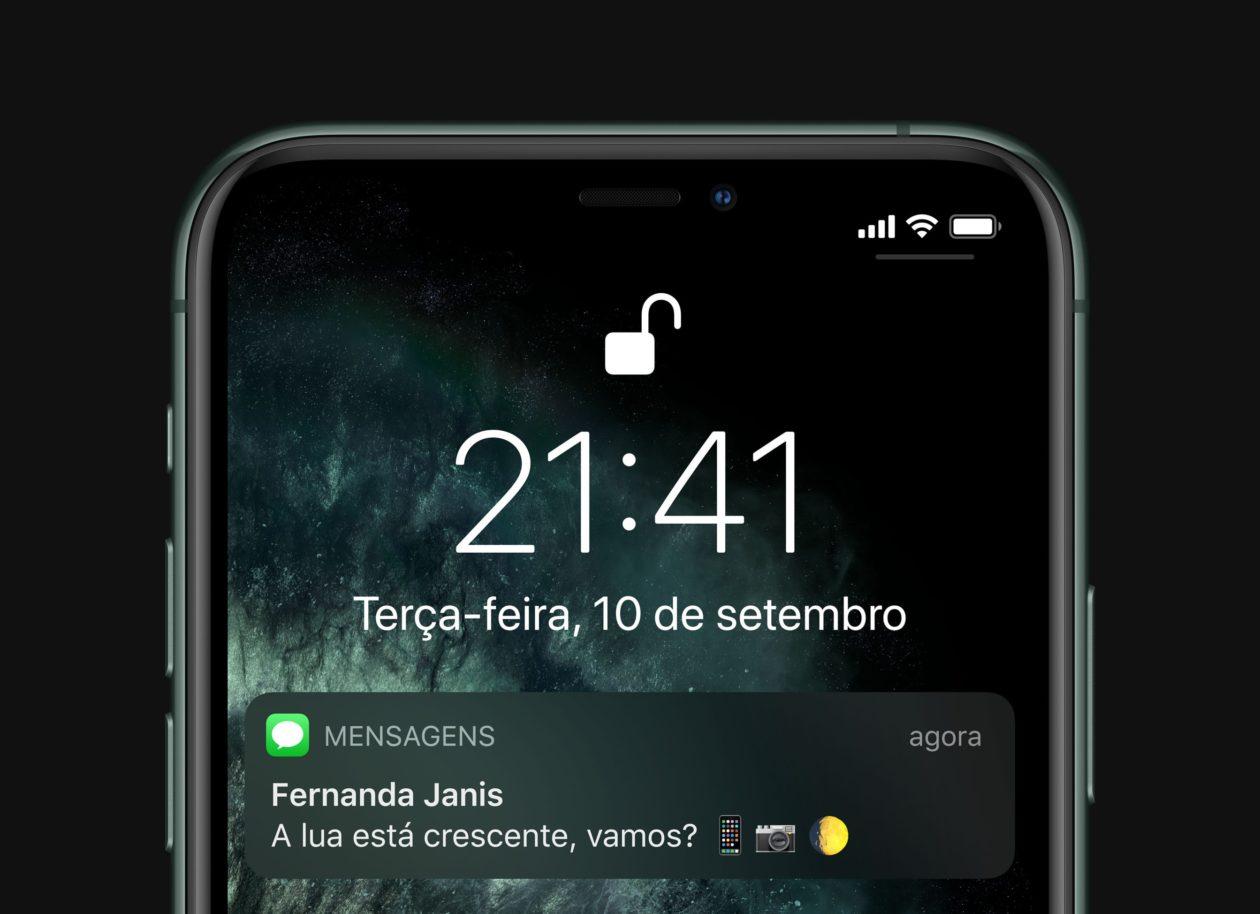 Face ID desbloqueado num iPhone 11 Pro
