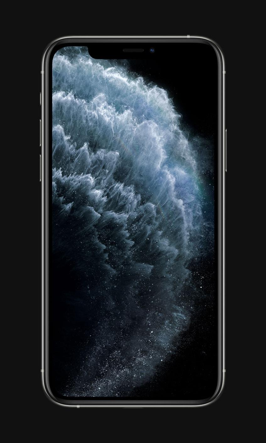 iPhone 11 Pro de frente com wallpaper de água