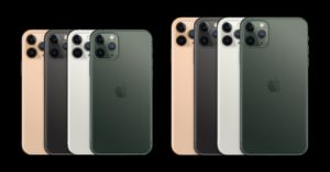 iPhones 11 Pro e 11 Pro Max em todas as cores de trás