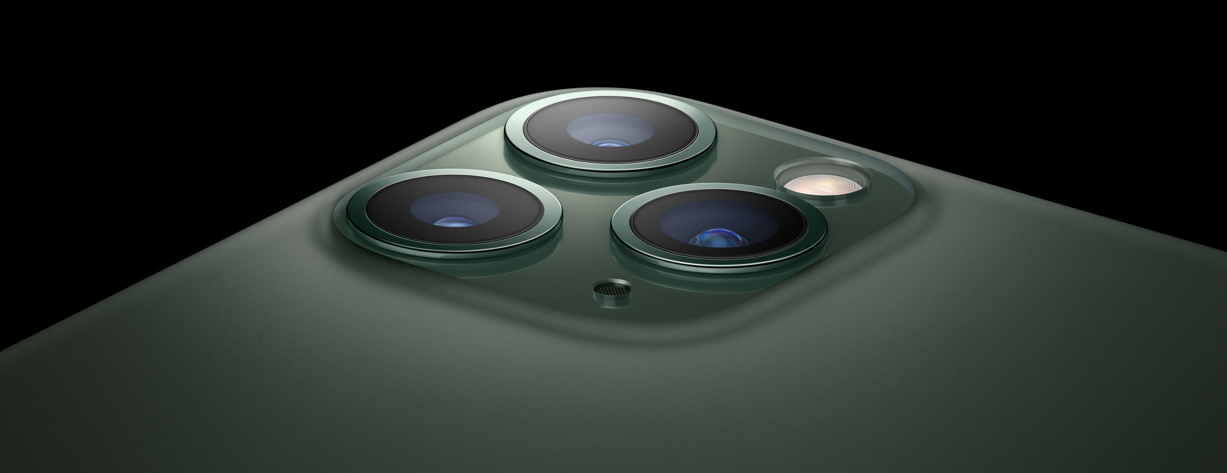 Recorte quadrado da câmera do iPhone 11 Pro em detalhe
