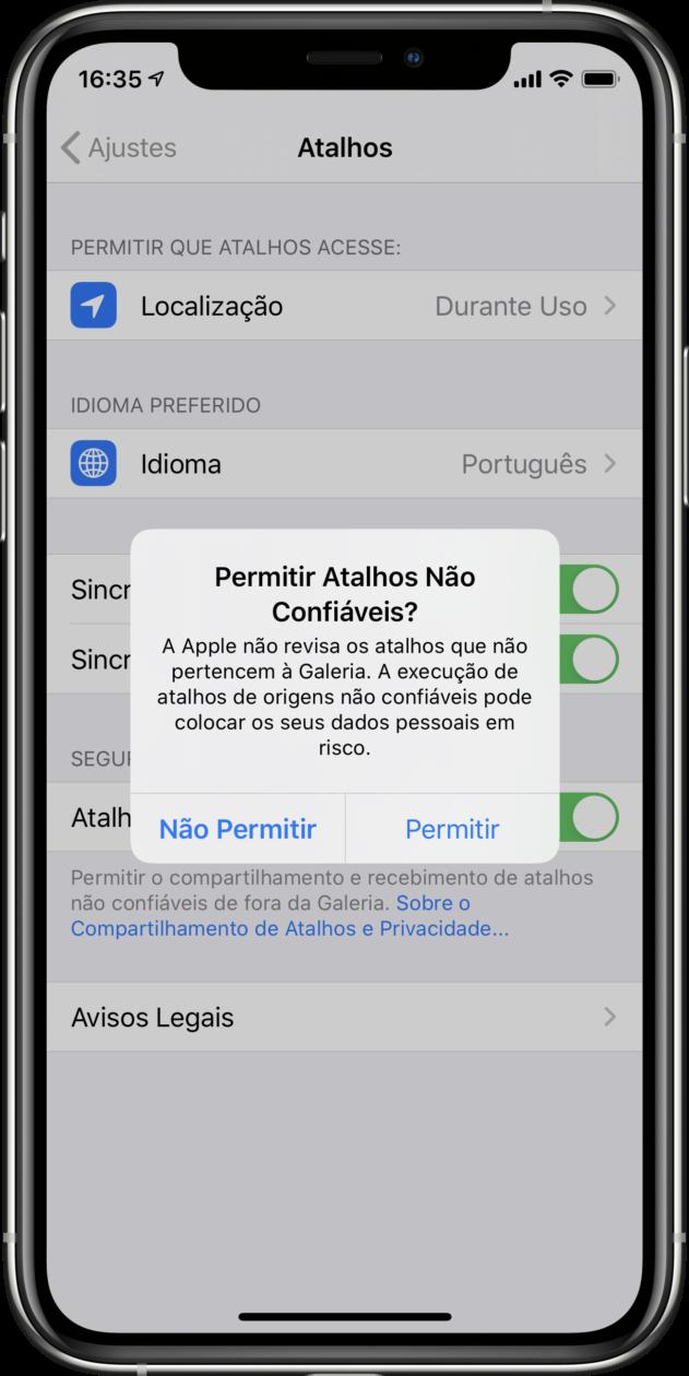 Permitir atalhos não confiáveis no iOS 13