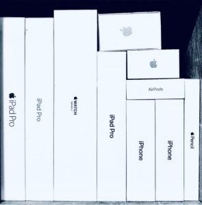 Caixa de produtos Apple
