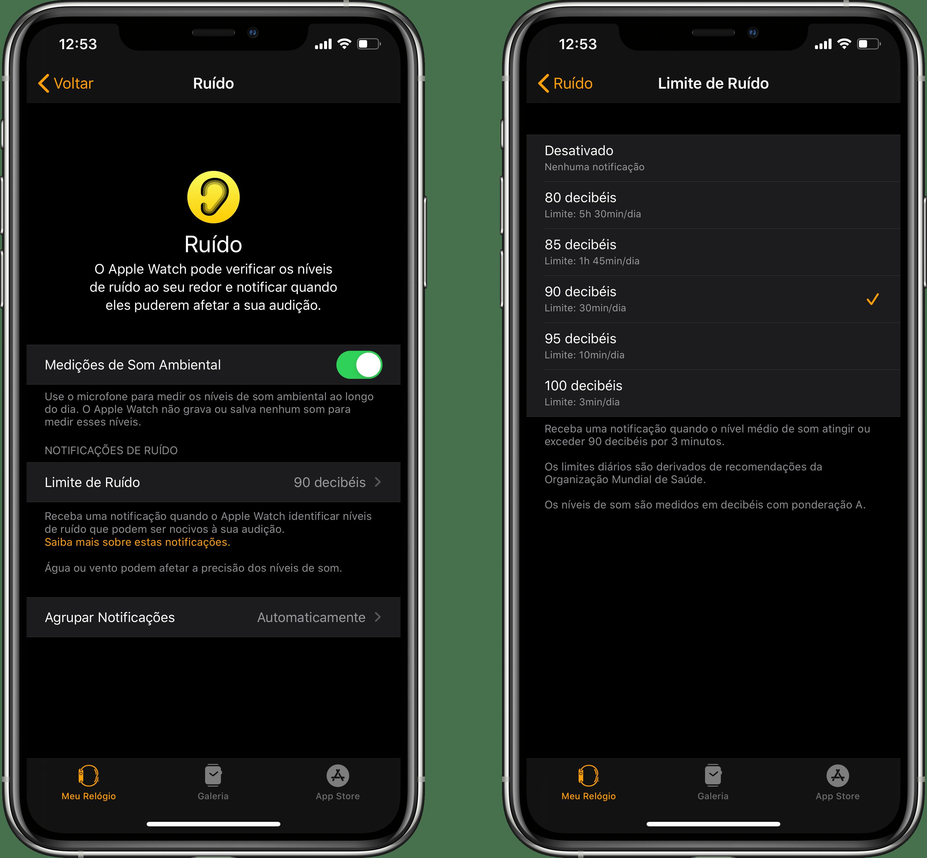 Configurações do app Ruído do watchOS 6