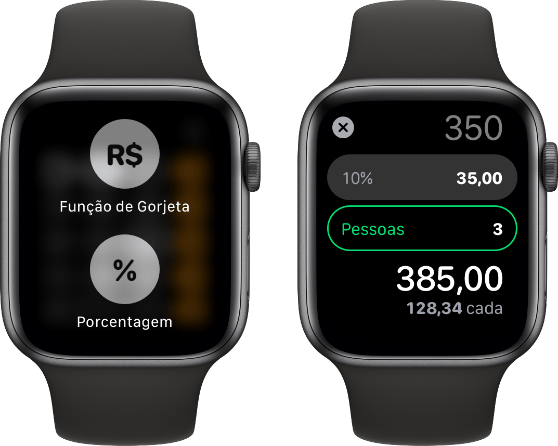 Função de Gorjeta no app Calculadora do watchOS 6
