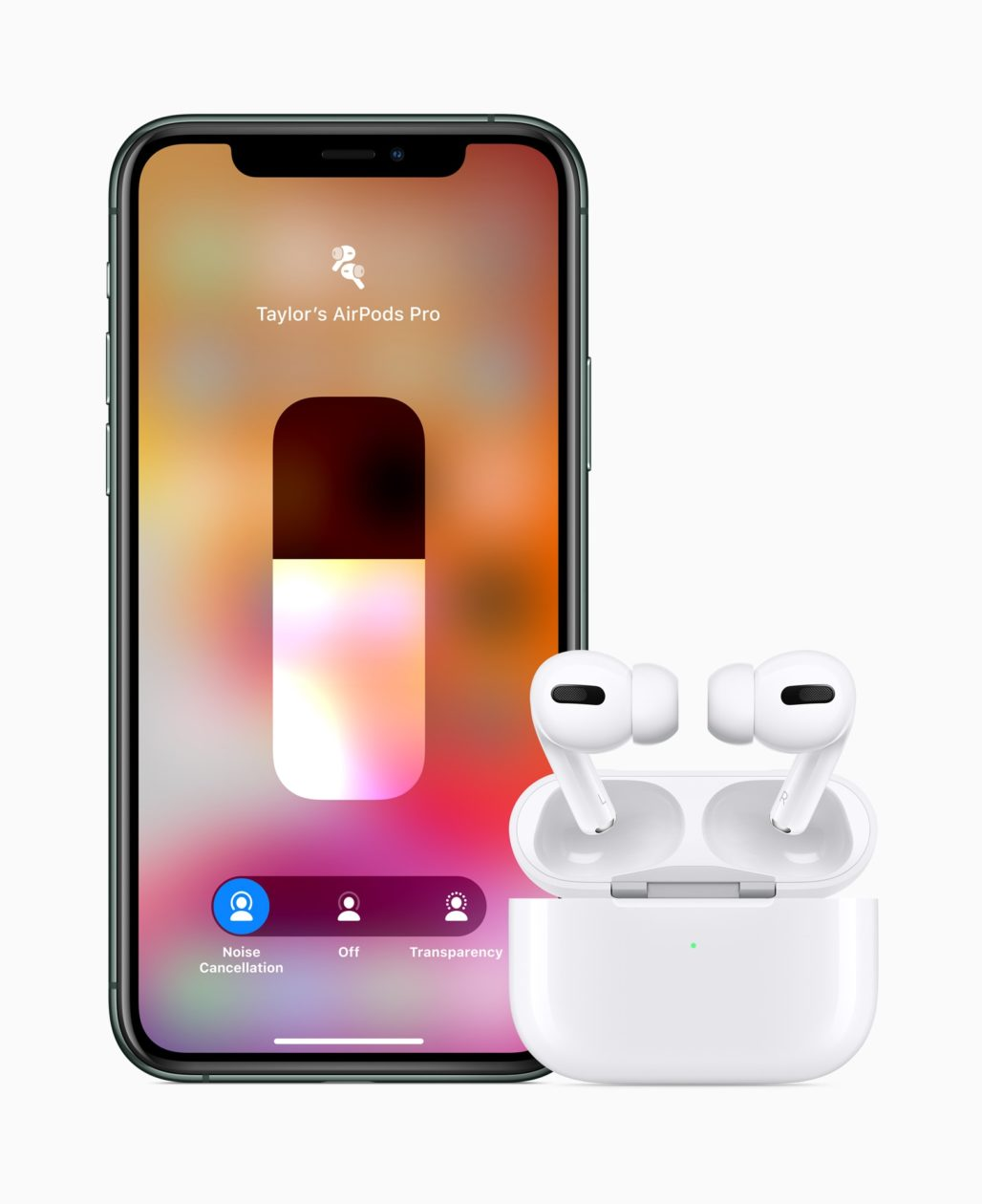 AirPods Pro ao lado de iPhone 11 Pro com ajuste de volume