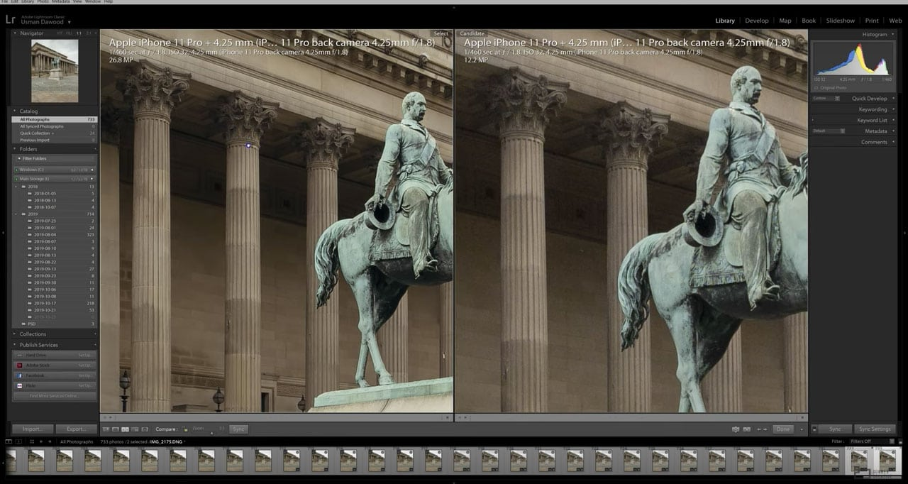 Comparação entre foto comum e foto com resolução dobrada no iPhone 11 Pro
