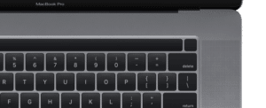Layout da Touch Bar no MacBook Pro de 16 polegadas