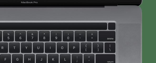 Layout da Touch Bar no MacBook Pro de 16 polegadas