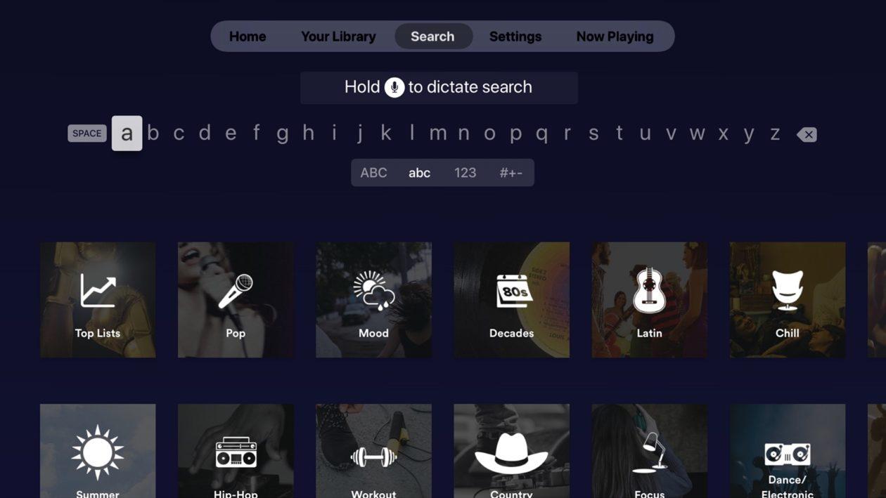 App do Spotify para Apple TV
