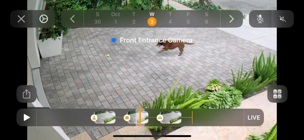 Interface do HomeKit Secure Video