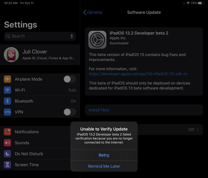 iPad Pro com erro de atualização no iOS 13.2 beta 2