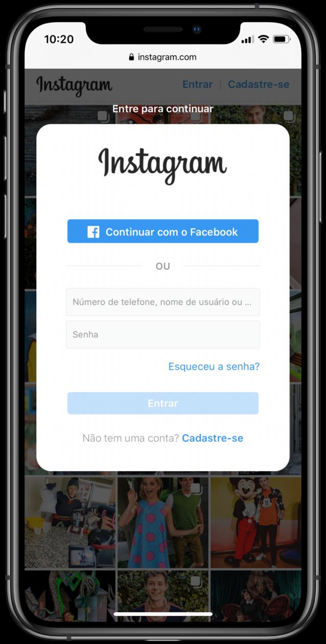 Login no Instagram para web