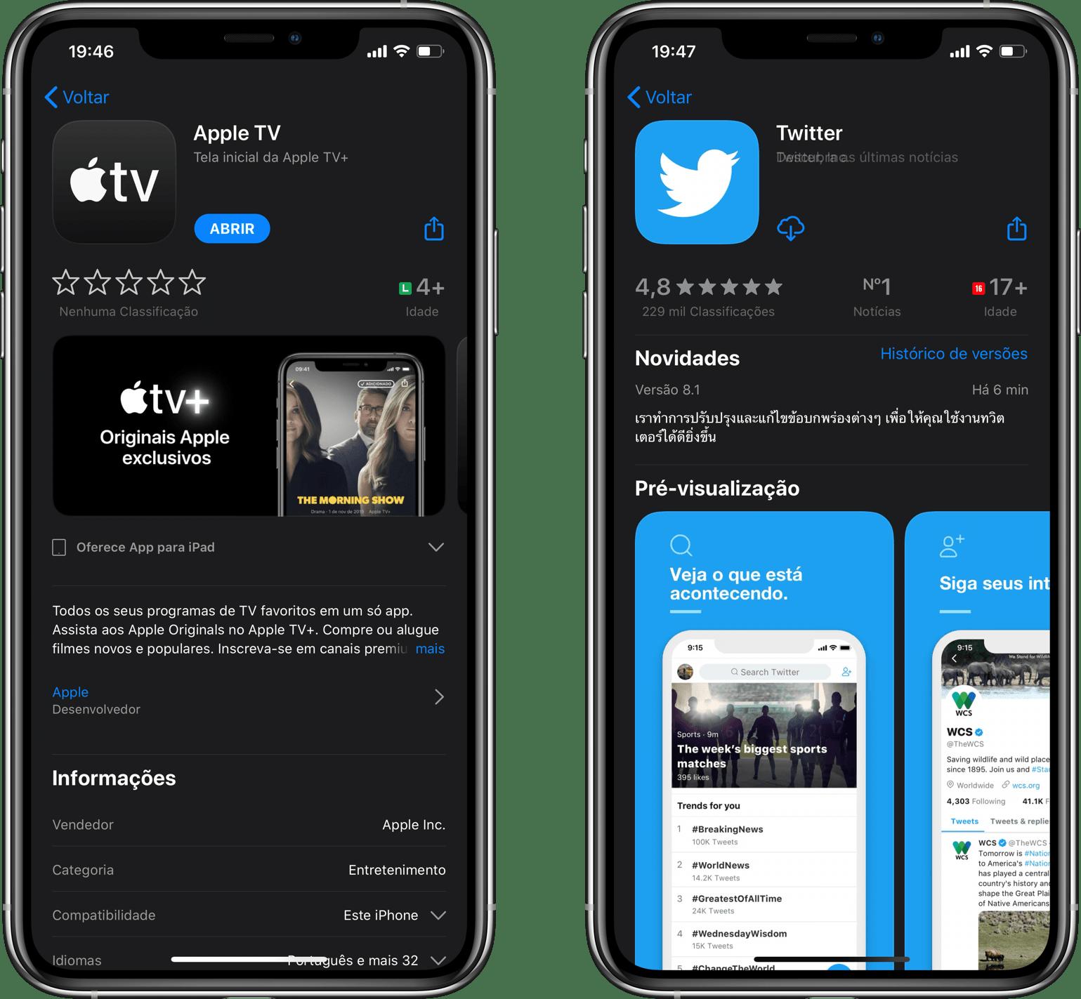 Classificação etária dos apps Apple TV+ e Twitter